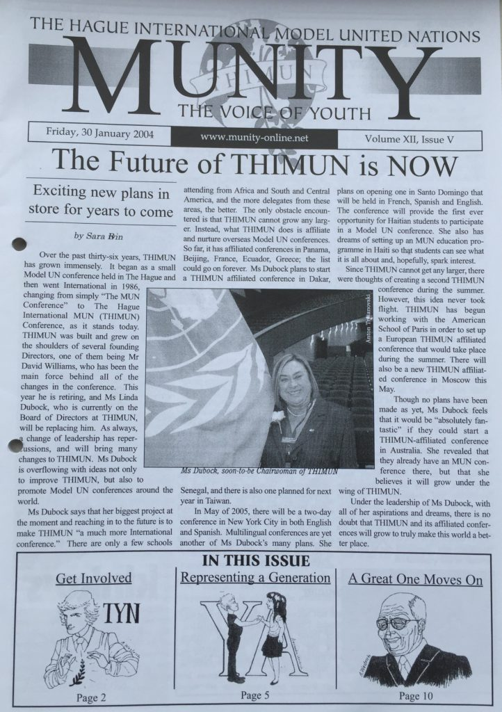 Linda Dubock becomes chairperson of the THIMUN Foundation